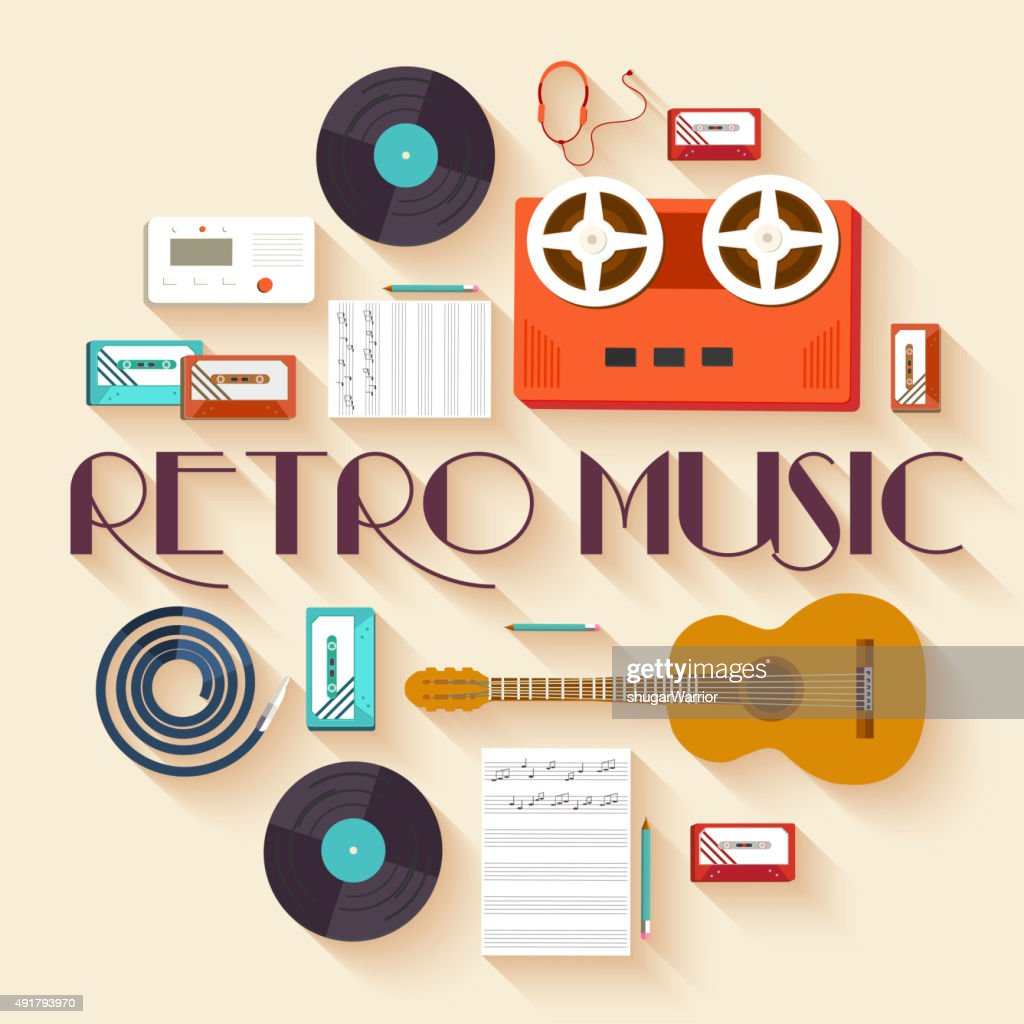Retro equipment music set circle infographics template concept. Icons pack