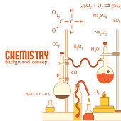 Retro experiments in a chemistry laboratory background concept. Vector
