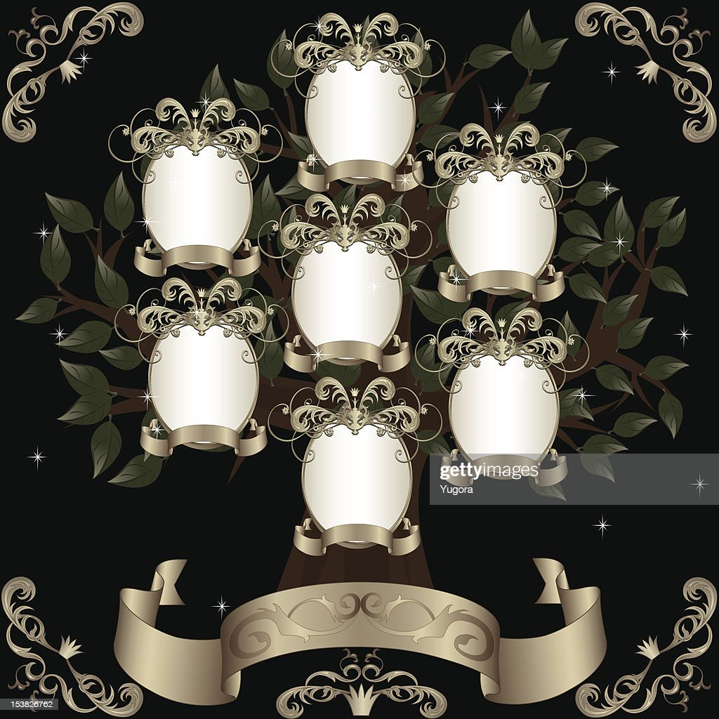 Retro family tree with silver photoframeworks and banners, black background