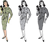 Retro fashion dressed woman. 1960s office style. Vector set