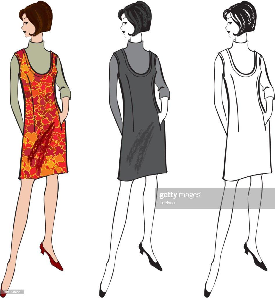Retro fashion dressed woman. Vector set