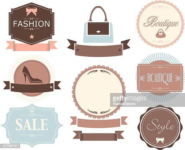 retro fashion labels - boutique stock illustrations, clip art, cartoons, & icons