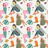 Retro Fashion Model Seamless Pattern. Vintage