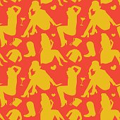 Retro Fashion Model Silhouette Seamless Pattern