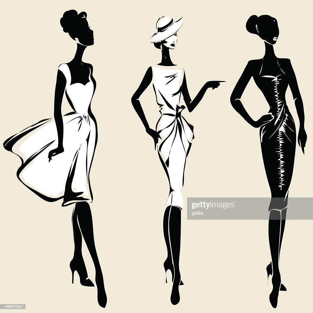 Retro fashion models in sketch style