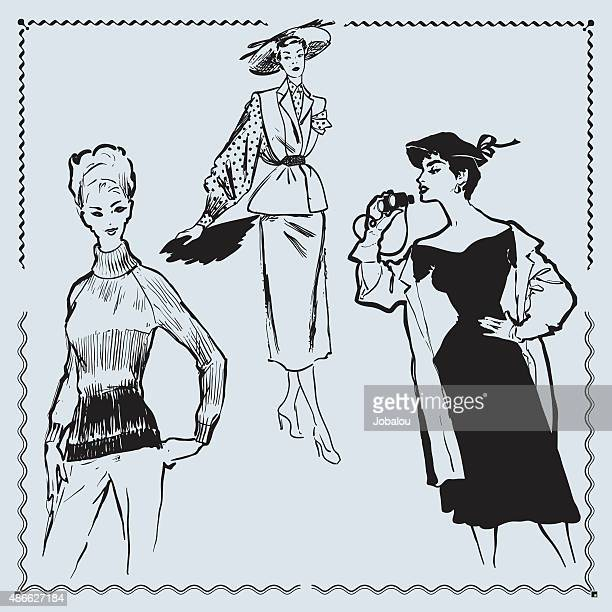 retro fashion models - textile industry stock illustrations