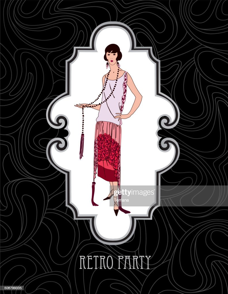 Retro Fashion Wallpaper Girl In 1930s Style Vector Art