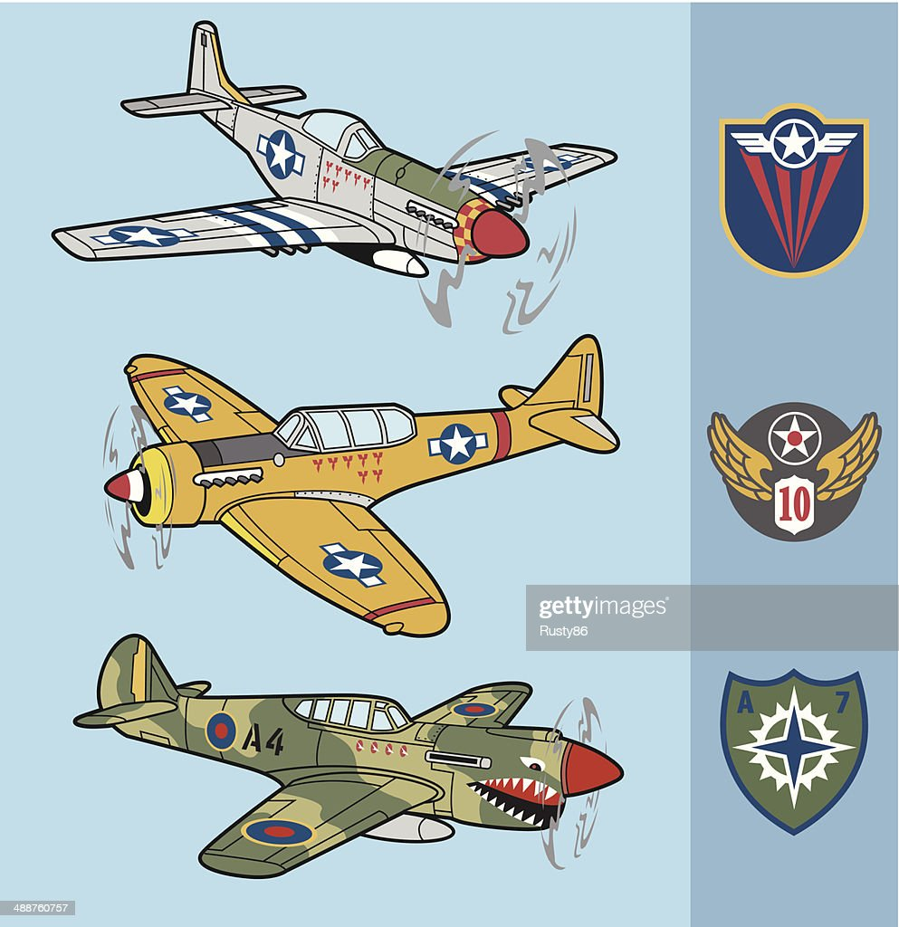 Retro fighter planes set 1