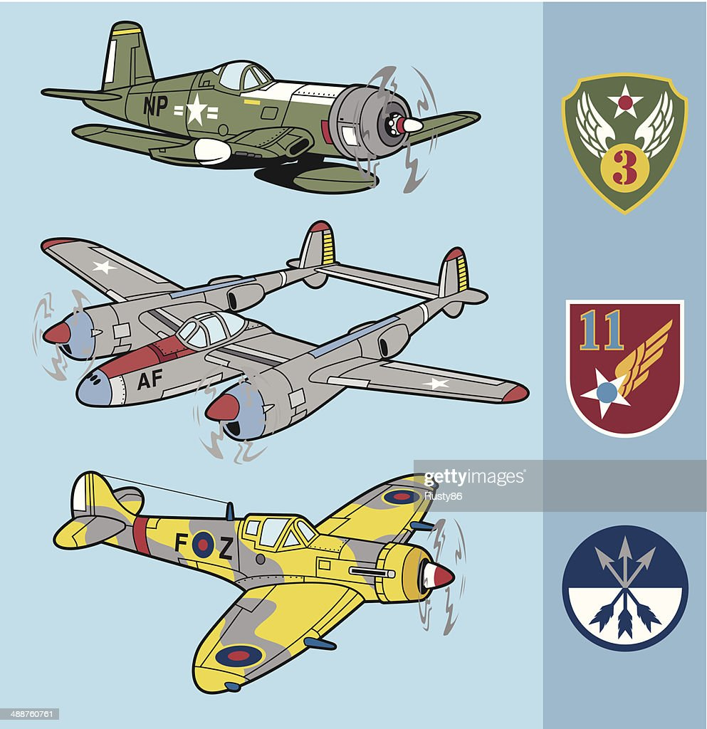 Retro fighter planes set 2