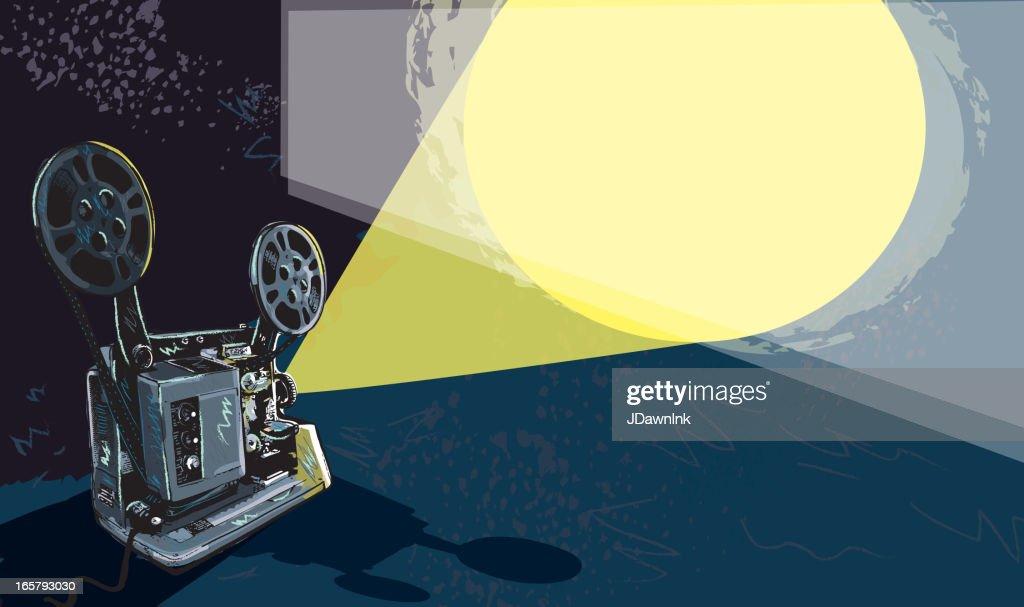 Retro film projector and light : stock illustration