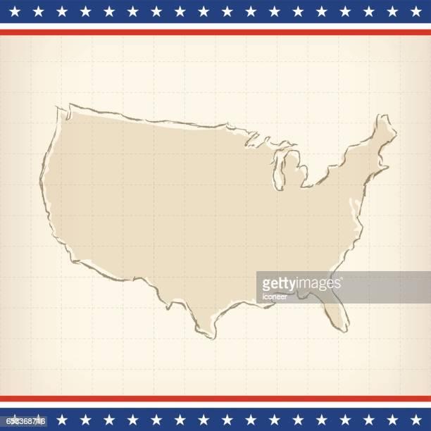 USA retro flag map on beige patriotic background