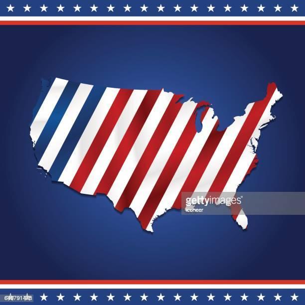 USA retro flag map on blue patriotic background