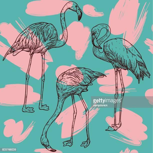 ilustrações de stock, clip art, desenhos animados e ícones de retro flamingo pattern - flamingo