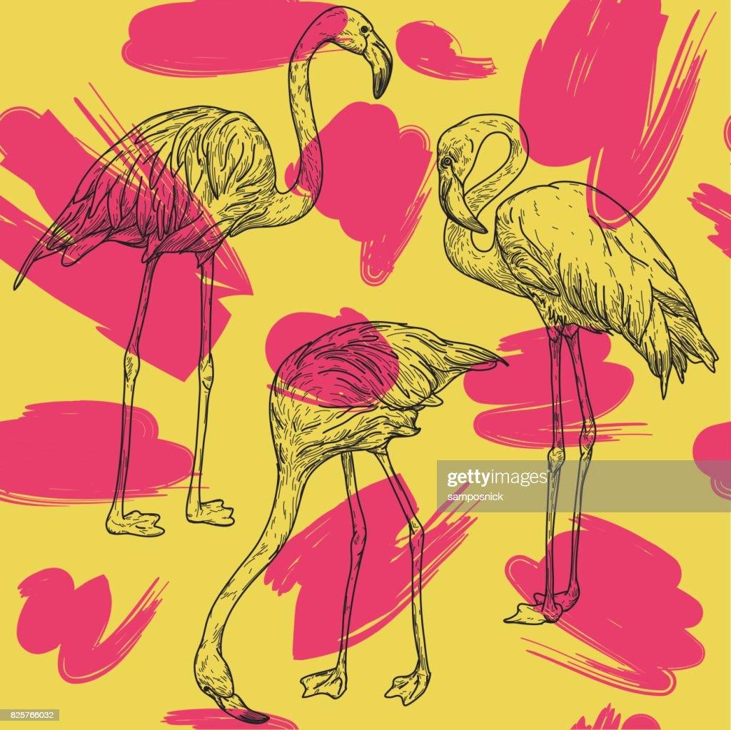 Retro Flamingo Pattern : stock vector