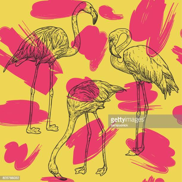 retro flamingo pattern - flamingo stock illustrations, clip art, cartoons, & icons