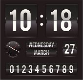 retro flip clock with date and dual timer