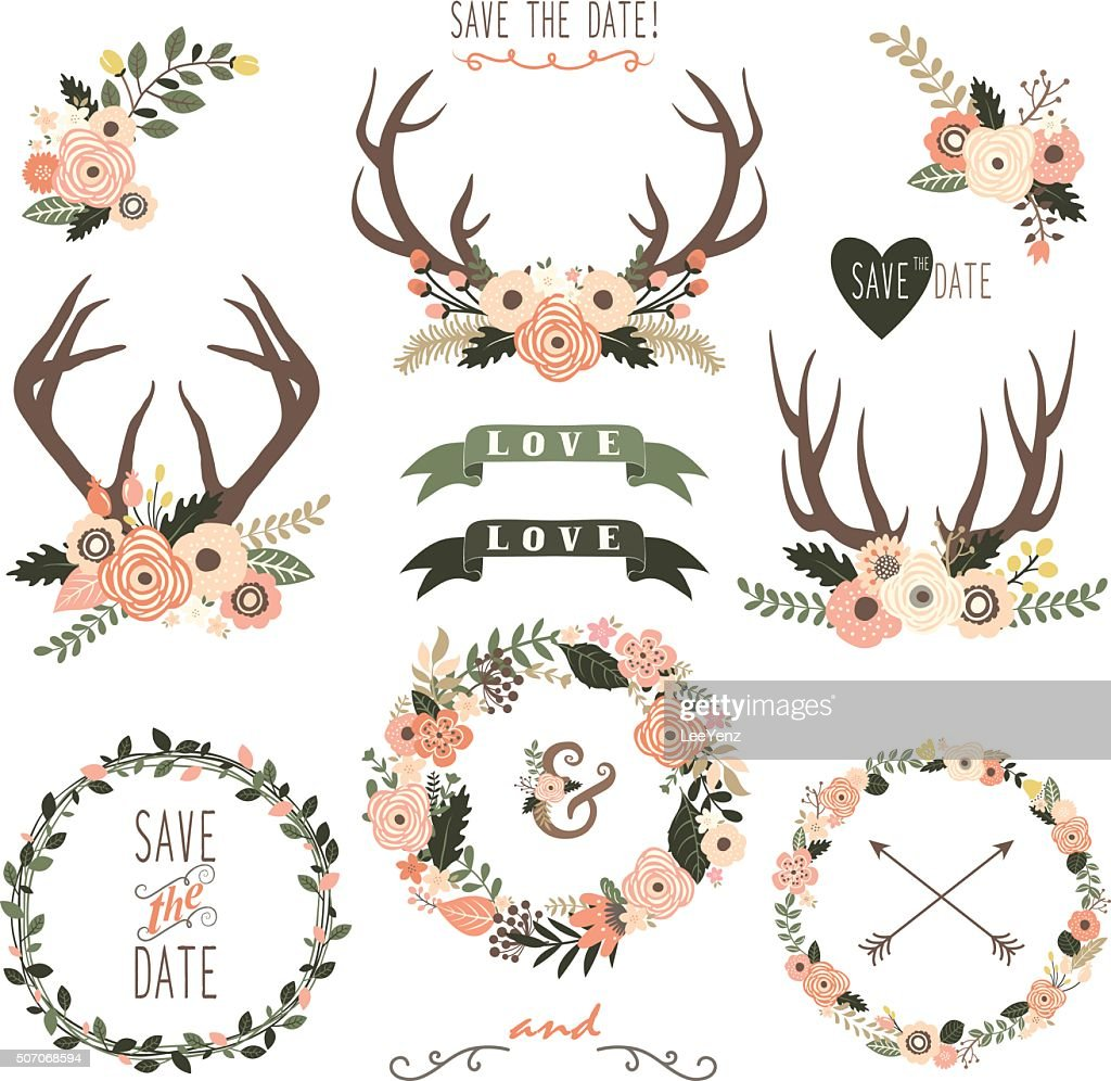 Retro Floral Antlers Collection- Illustration