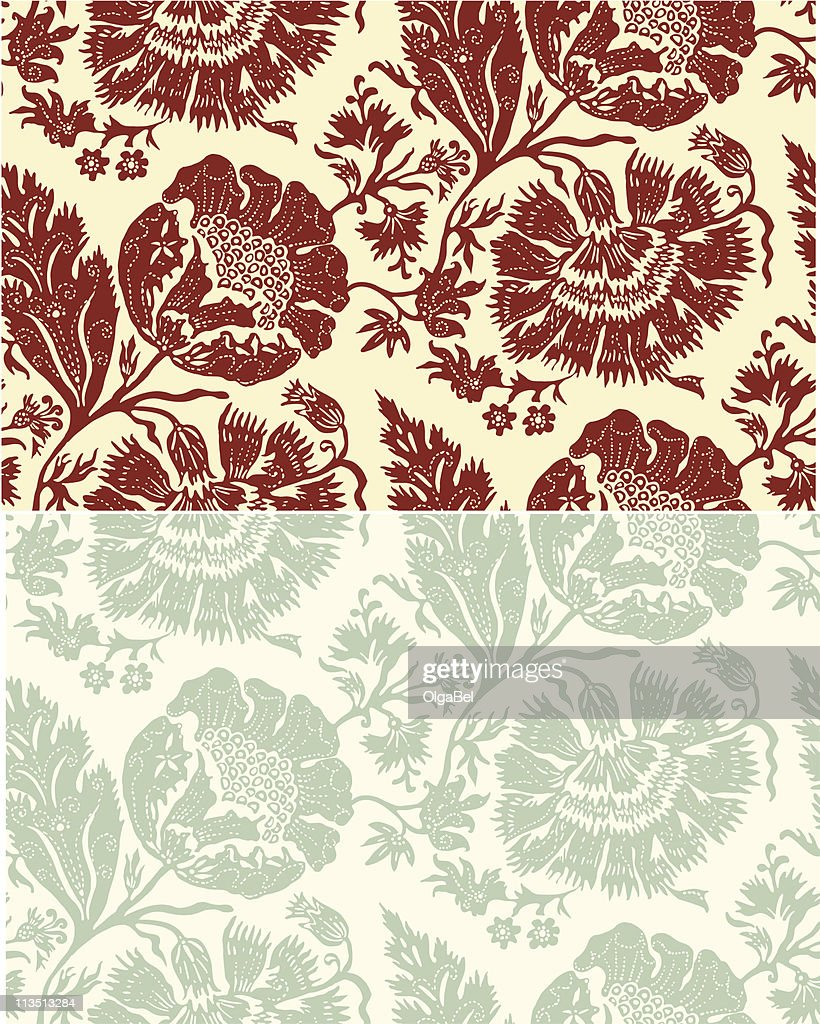 Retro Floral Wallpaper High Res Vector Graphic Getty Images