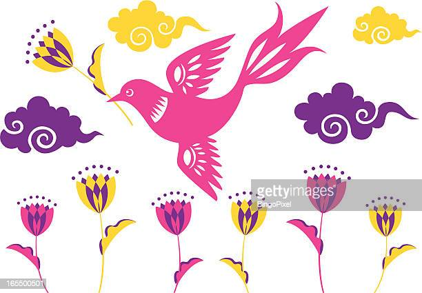 retro flying bird with tulips - magpie stock illustrations