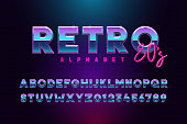 Retro font effect based on the 80s. Vector design 3d text elements based on retrowave, synthwave graphic styles. Mettalic alphabet typeface in different blue and purple colors