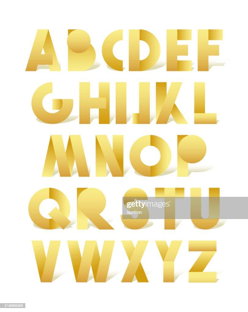 Retro font in gold. Golden alphabet. Realistic letters