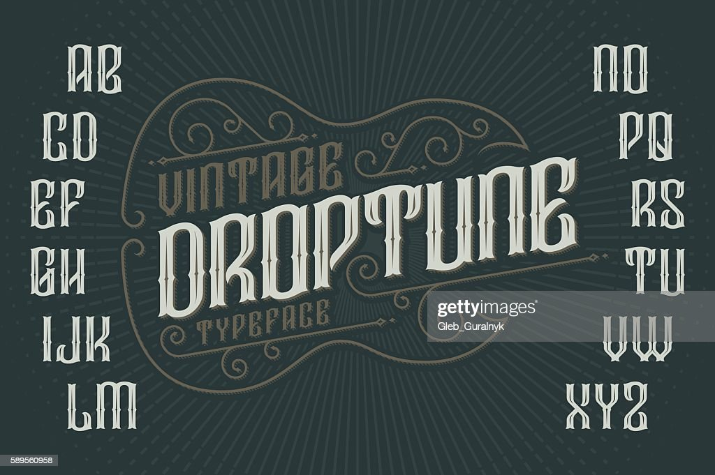 Retro font with decorative frame in shape of gothic guitar