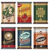 Retro food cans design template creative concept