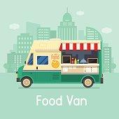 Retro Food Van on City Background