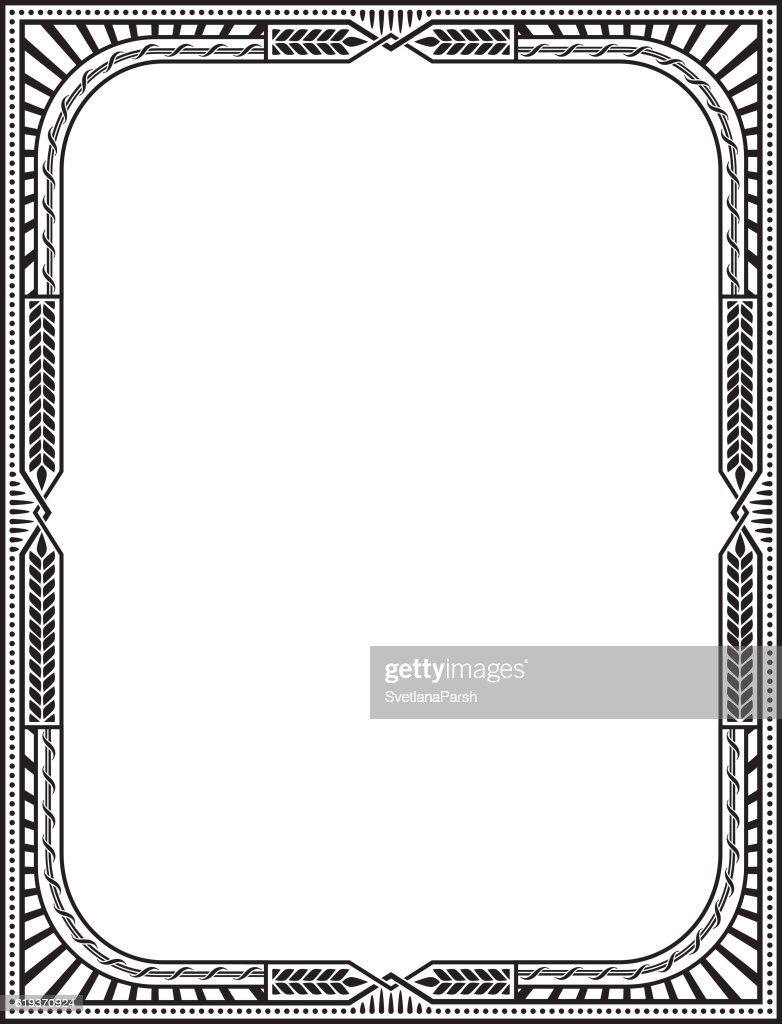 Retro Frame Letter Page Size Vector Art