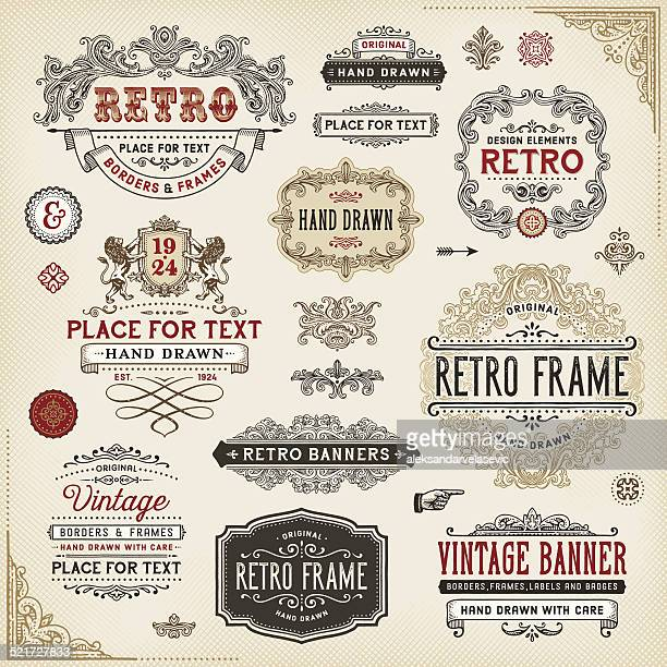 retro frames,labels and badges - ornate stock illustrations, clip art, cartoons, & icons