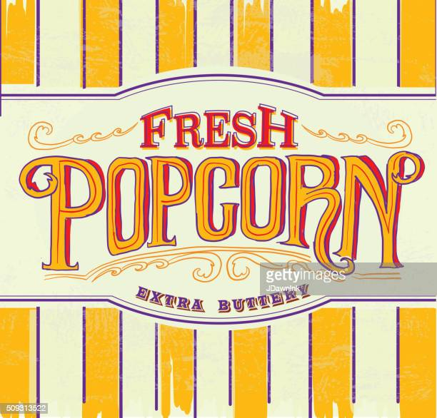 Retro Fresh popcorn hand lettered sign design