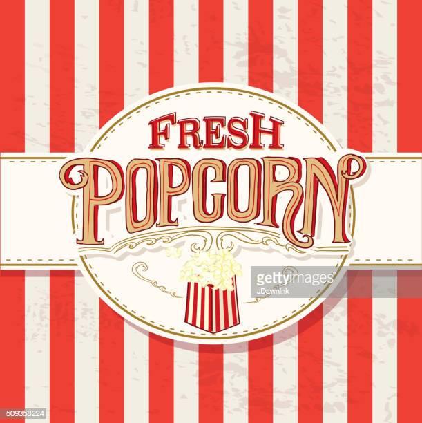 Frisches Popcorn Retro-design Hand Schriftzug-Schild