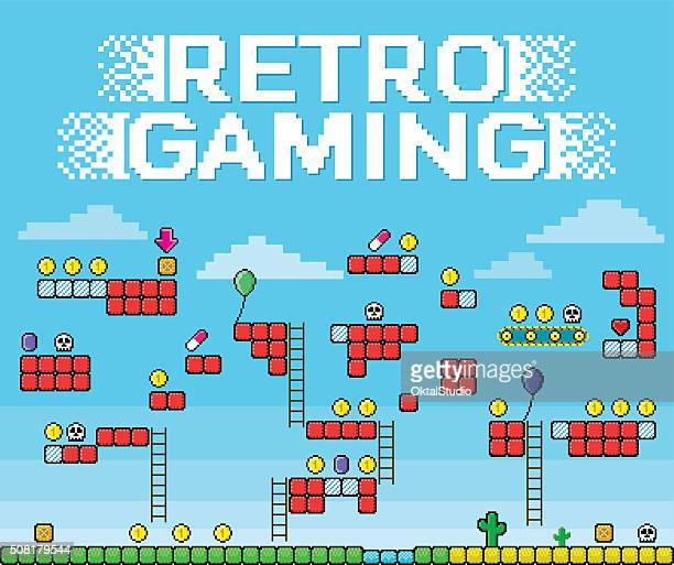 retro gaming - pixelated platformer - leisure games stock illustrations