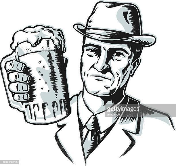retro gangster beer toast