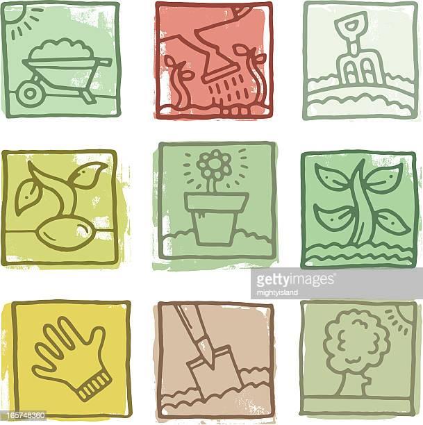 retro gardening icon blocks - gardening glove stock illustrations, clip art, cartoons, & icons