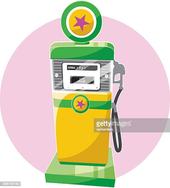 retro gas pomp - fuel station stock illustrations, clip art, cartoons, & icons