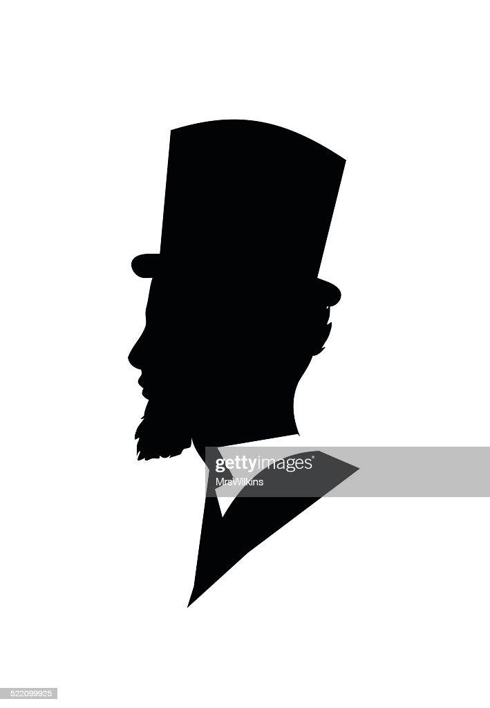 Retro gentleman face profile shape vector illustration