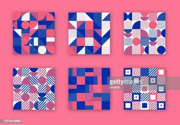 illustrations, cliparts, dessins animés et icônes de collection rétro de couvertures géométriques. concept de formes abstraites. conception de vecteur - forme géométrique