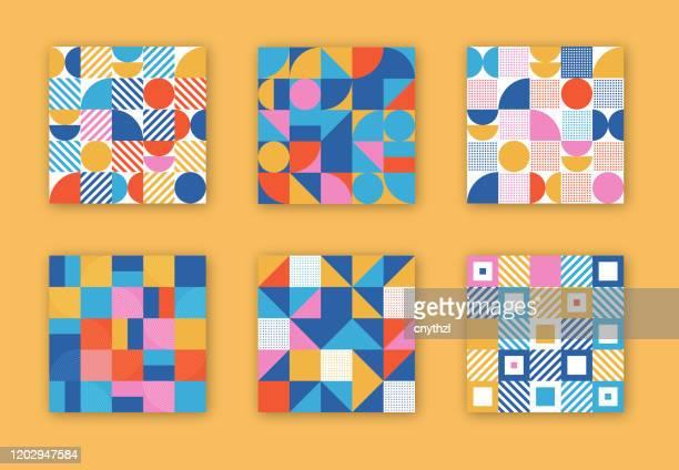 retro geometrische abdeckungen sammlung. abstract shapes concept. vector design - designelement stock-grafiken, -clipart, -cartoons und -symbole