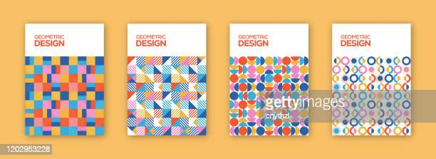 retro geometric covers collection. abstract shapes concept. vector design - catalogue stock illustrations