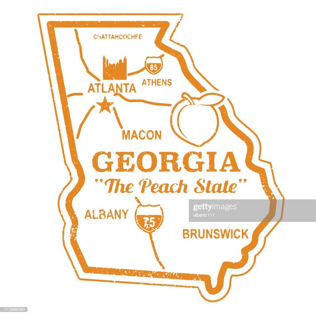 Sello de viaje Retro Georgia : Ilustración de stock