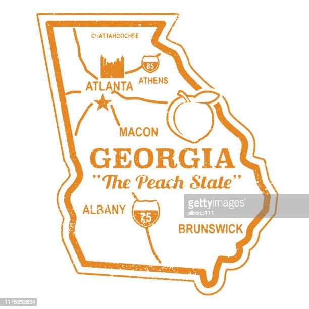 retro georgia travel stamp - athens georgia stock illustrations, clip art, cartoons, & icons