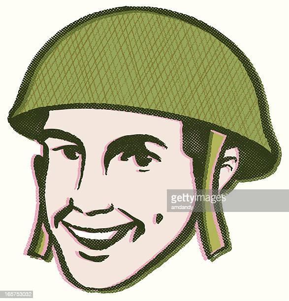 retro g.i. bob - paratrooper stock illustrations, clip art, cartoons, & icons