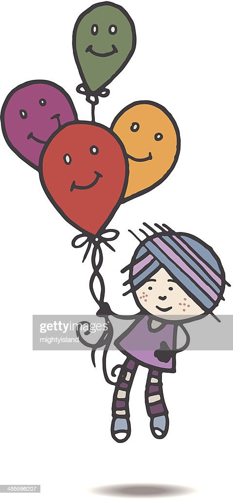 Retro girl floating away with balloons : stock illustration