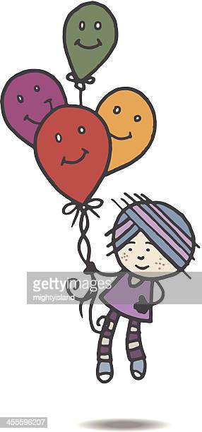 retro girl floating away with balloons - one girl only stock illustrations, clip art, cartoons, & icons