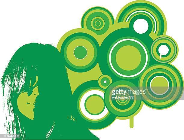 retro girl: green - music style stock illustrations, clip art, cartoons, & icons