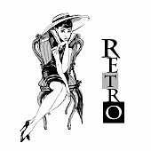 Retro girl in hat. Elegant lady. Graphics. Vector