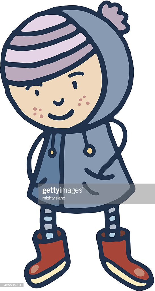 Retro girl in winter clothes : stock illustration