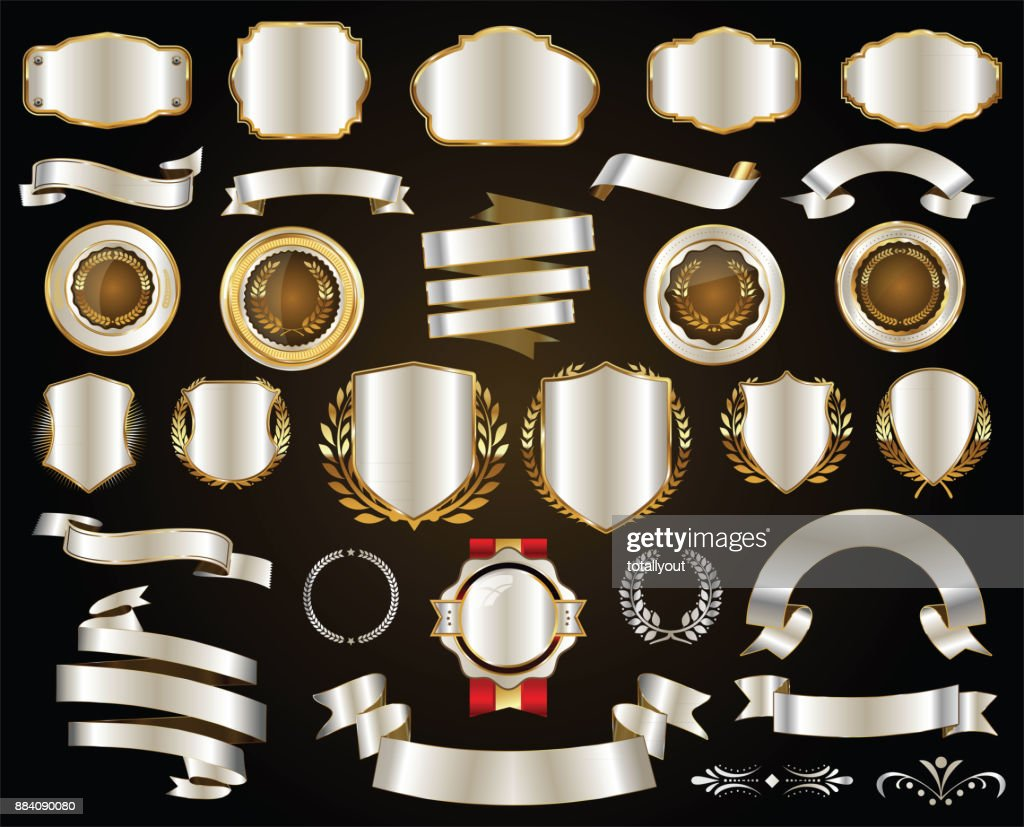 Retro gold and silver ribbons badges and labels vector collection