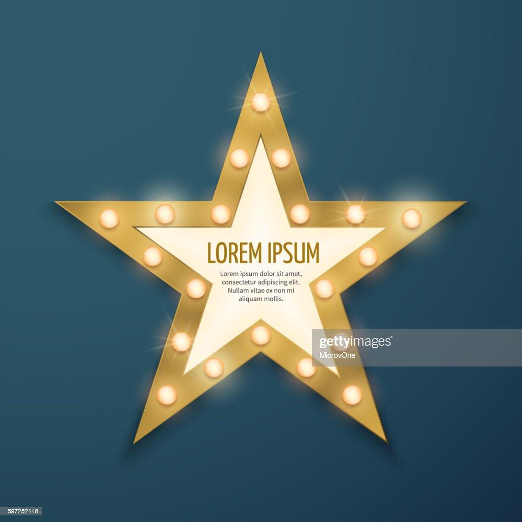 Retro gold star light vintage frame, banner